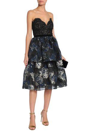 MARCHESA NOTTE Strapless paneled metallic cloqué and lace dress
