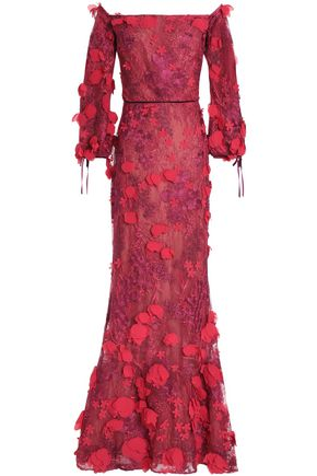 MARCHESA NOTTE Off-the-shoulder floral-appliquéd embroidered tulle gown