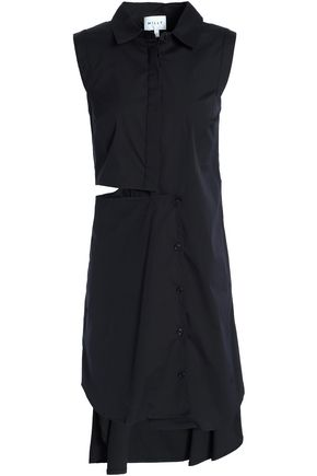 MILLY Cutout draped cotton-blend poplin mini dress