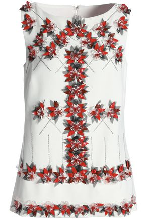 CAROLINA HERRERA Embellished floral-appliquéd woven tunic