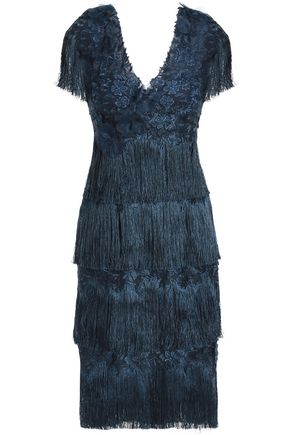 MARCHESA NOTTE Fringed tiered appliquéd embroidered tulle dress