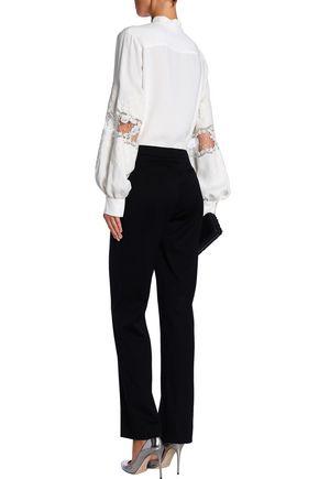 CAROLINA HERRERA Lace-trimmed silk-cady shirt