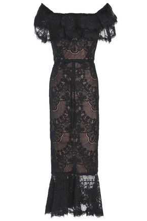 MARCHESA NOTTE Off-the-shoulder tiered corded lace midi dress