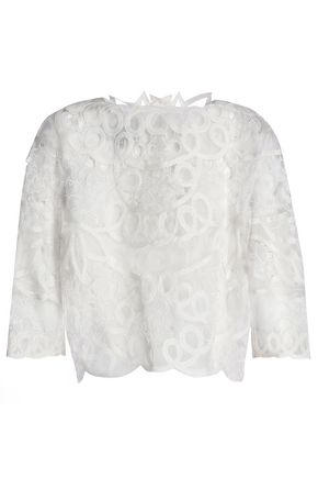 CAROLINA HERRERA Cutout embroidered silk-organza top