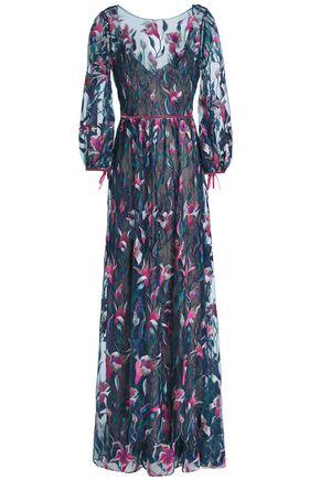MARCHESA NOTTE Velvet-trimmed embroidered tulle maxi dress