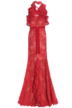 MARCHESA NOTTE Split-front ruffled corded lace halterneck gown