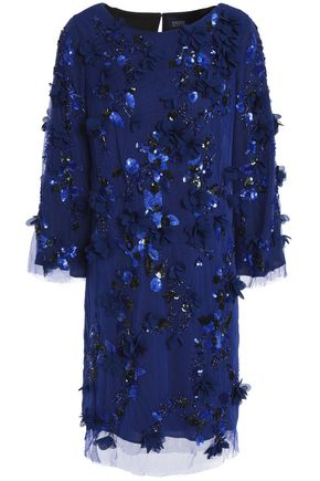 MARCHESA NOTTE Embellished floral-appliquéd embroidered tulle mini dress