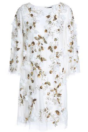 MARCHESA NOTTE Embellished tulle mini dress