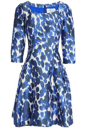 CAROLINA HERRERA Flared printed silk and wool-blend dress