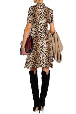 CAROLINA HERRERA Pussy-bow leopard-print stretch-silk mini dress
