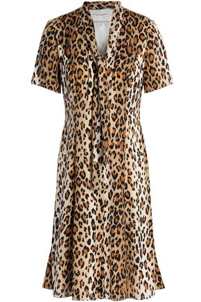 CAROLINA HERRERA Pussy-bow leopard-print stretch-silk mini dress