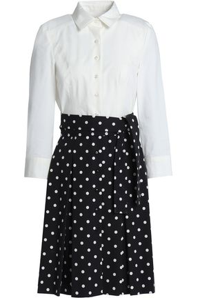 CAROLINA HERRERA Paneled polka-dot cotton-blend mini dress