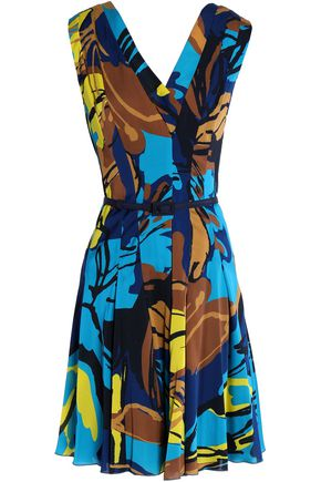 CAROLINA HERRERA Pleated printed silk-blend dress