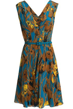 CAROLINA HERRERA Pleated floral-print silk mini dress