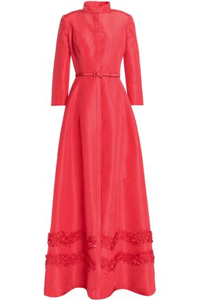 CAROLINA HERRERA Belted appliquéd silk-faille gown