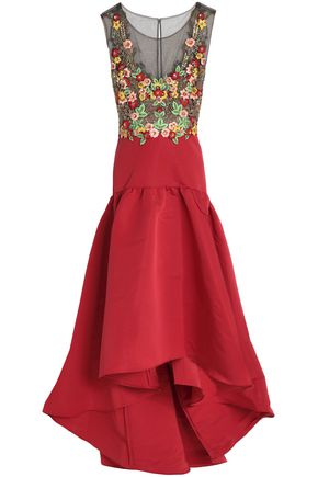 MARCHESA NOTTE Paneled embroidered tulle and faille midi dress