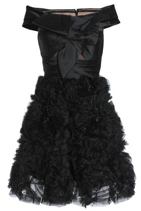 MARCHESA NOTTE Off-the-shoulder knotted satin and organza dress