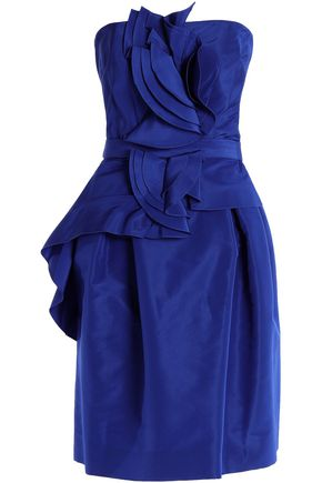 CAROLINA HERRERA Strapless ruffled belted silk-voile dress