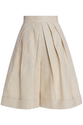 DELPOZO Pleated linen and cotton-blend canvas shorts