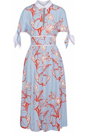 LELA ROSE Knotted printed twill midi shirt dress