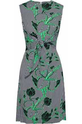 LELA ROSE Tie-front layered printed twill dress