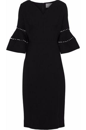 LELA ROSE Faux pearl-embellished wool-blend crepe dress