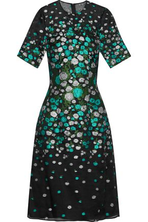 LELA ROSE Silk-blend floral-jacquard dress