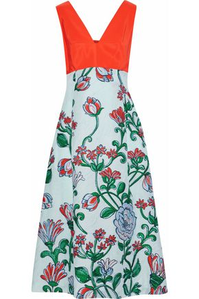 LELA ROSE Knotted faille-paneled cloqué-jacquard midi dress