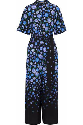 LELA ROSE Cropped floral-print crepe wide-leg jumpsuit