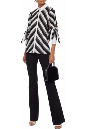 LELA ROSE Poplin-trimmed striped cotton and silk-blend shirt