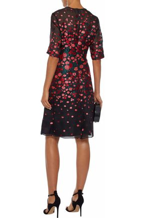 LELA ROSE Silk-blend floral-jacquard dress