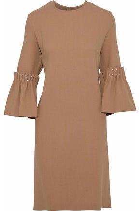 LELA ROSE Faux pearl-embellished wool-blend crepe mini dress
