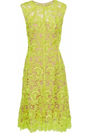LELA ROSE Neon guipure lace dress