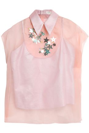 DELPOZO Embellished silk-organza top