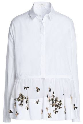 DELPOZO Embellished cotton-poplin and tulle shirt