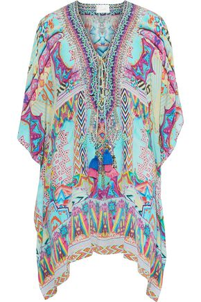 CAMILLA Dawn Of Time embellished printed silk crepe de chine coverup