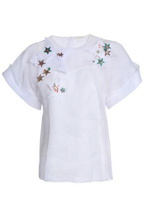 DELPOZO Embellished silk-organza top