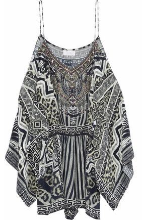 CAMILLA Close To My Heart cold-shoulder embellished printed silk playsuit