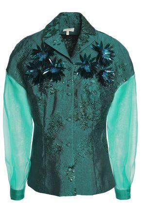 DELPOZO Embellished organza-paneled jacquard blouse