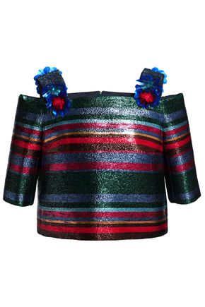 DELPOZO Cold-shoulder floral-appliquéd striped lamé top