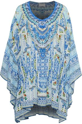 CAMILLA Embellished printed crepe de chine coverup