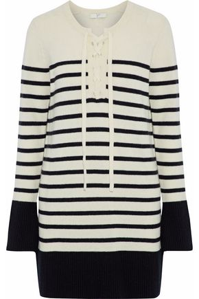JOIE Heltan lace-up striped wool and cashmere-blend mini dress