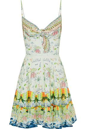 CAMILLA Sundowners embellished printed linen mini dress
