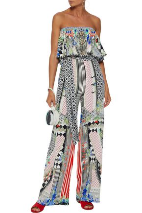 6e31b340c06 CAMILLA Meet Me Here strapless embellished printed silk crepe de chine  jumpsuit