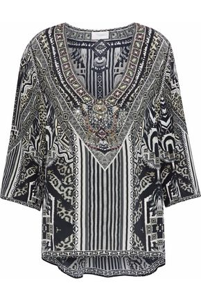 CAMILLA Tribal Theory oversized embellished printed washed-silk blouse