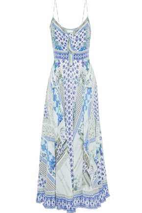 CAMILLA Meet Me Here crystal-embellished printed silk maxi dress