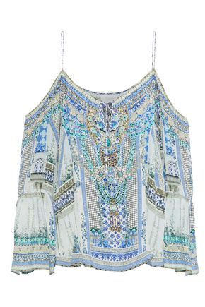 CAMILLA Cold-shoulder crystal-embellished printed silk crepe de chine top