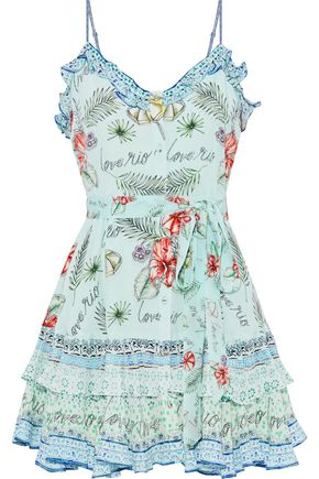 CAMILLA Shade Of Rio ruffled printed silk crepe de chine mini dress