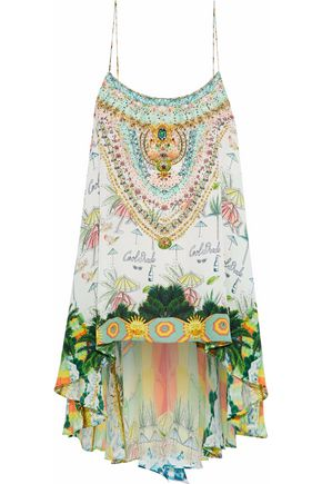 CAMILLA Crystal-embellished printed silk top