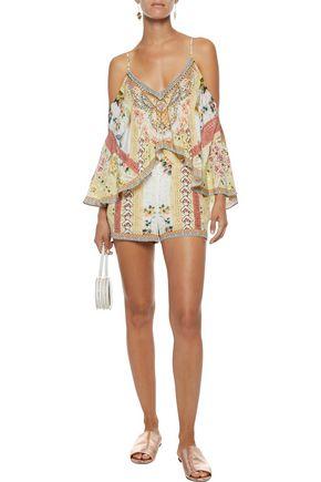 d7c02a4dc4 ... CAMILLA My Summer Love cold-shoulder embellished silk playsuit ...